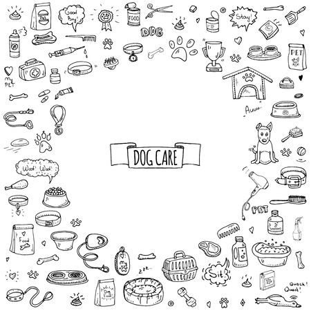 Hand drawn doodle Dog care icons set. Vector illustration. Vet symbol collection. Cartoon cat care elements: kennel, leash, food, paw, bowl, bone and other goods for pet shop, hotel
