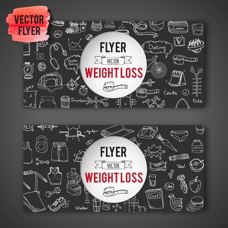 Hand drawn doodle Weight loss icons set Vector illustration dieting symbols collection Cartoon sketch elements Diet Sport equipment Healthy food eating Nutrition Protein Carbs Fats chemical formula Illustration