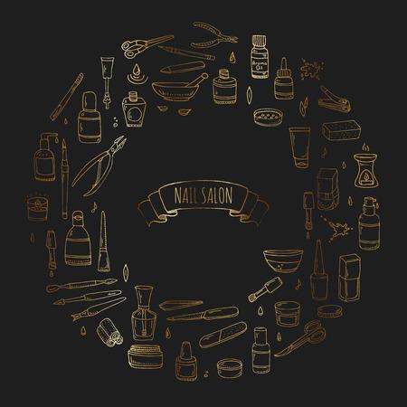 A mano doodle disegnati salone del chiodo icone set. Illustrazione vettoriale. Manicure collezione di accessori. Cartoon vari schizzo pedicure strumenti di elementi: polacco, bottiglia, spazzola, vernici, forbici, lozione, crema Archivio Fotografico - 84627646