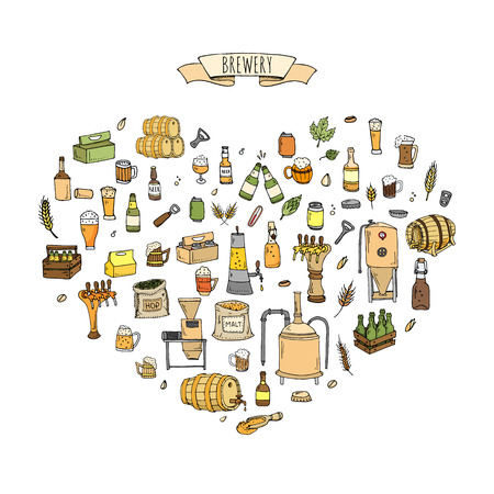 Hand getrokken doodle set van Brewery iconen. Vector illustratie set. Cartoon Craft Beer productie symbolen. Schetsmatige brouwen elementen collectie: pub apparatuur, mout, hop, glas, vat, molen, biertap.