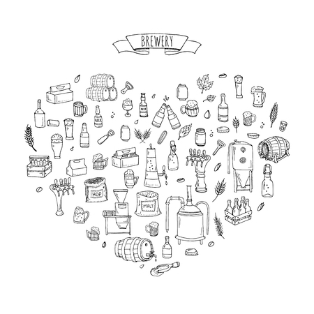 Hand drawn doodle set of Brewery icons. Vector illustration set. Cartoon Craft Beer production symbols. Sketchy brewing elements collection: pub equipment, malt, hop, glass, barrel, mill, beer tap.