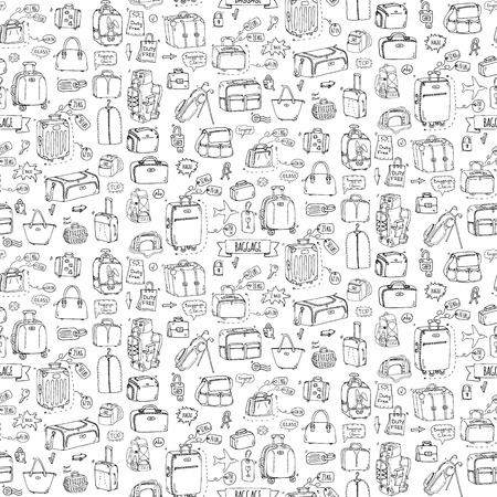 Forme dessinée à l'épreuve des doigts. Illustration vectorielle. Différents types de bagages Grande petite valise Bagage à main Sac à dos Animaux à emporter Caisse Sac à main Tag Sketch style dessin animé Banque d'images - 84627652