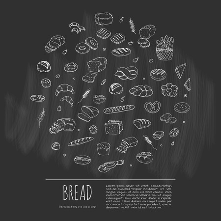 Hand drawn doodle set of cartoon food: rye bread, ciabatta, whole grain bread, bagel, sliced bread, french baguette, croissant Bread set illustration Sketchy bread elements collection Illustration