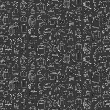 シームレス パターン手描き落書き手荷物のアイコンを設定します。ベクトルの図。手荷物大きな小さなスーツケース手荷物のバックパックを運ぶ動