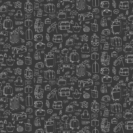 Dibujado a mano patrón sin fisuras Iconos de equipaje conjunto. Ilustración del vector. Diferentes tipos de equipaje Maletín pequeño grande Maletín de mano Mochila Animales de transporte Cajón Bolsa Etiqueta Esbozo estilo de dibujos animados Ilustración de vector