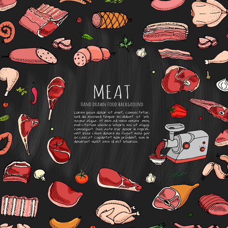 Hand drawn doodle set of cartoon different kind of meat and poultry. Vector illustration set. Sketchy food elements collection: Lamb, Pork, Ham, Mince, Chicken, Steak, Bacon, Sausage, Salami, Veggie. Illusztráció