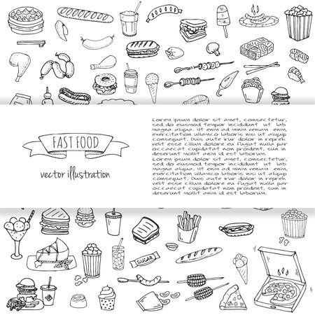 Hand gezeichnet Doodle Fast Food Icons. Vektor-Illustration. Junk-Food-Elemente Sammlung. Cartoon Snack verschiedene Skizze Symbol: Soda, Burger, Kartoffel, Hot Dog, Pizza, Tacos, süße Wüste, Krapfen, Popcorn Standard-Bild - 84627686