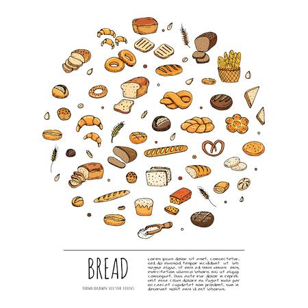 手描き落書き漫画一式食品: ライ麦パン、チャバタ、全粒パン、ベーグル、スライスしたパン、フランスのバゲット、クロワッサンのパン設定ベクト