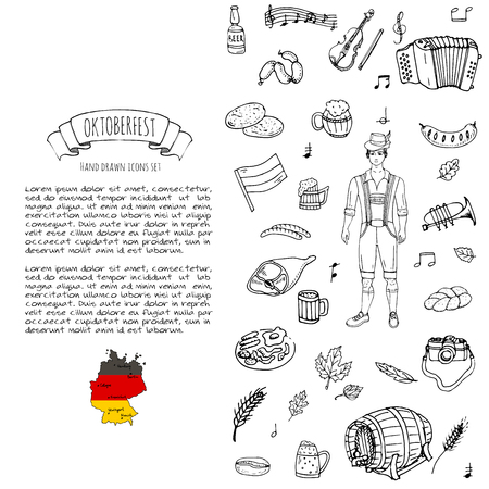 Hand drawn doodle set of Oktoberfest icons. Vector illustration set. Cartoon Bavarian elements. Sketchy October fest collection: Sausage, Barrels of Beer, Bread, Girl and Man in traditional costumes. Çizim