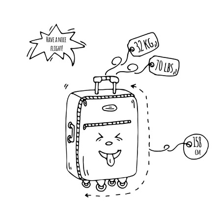 Hand drawn doodle Baggage with funny emoji face icon. Vector illustration.Large or small suitcase, hand luggage, carry-on handbag, tag. Sketch laughing kawaii cartoon style Smile, tong, grin