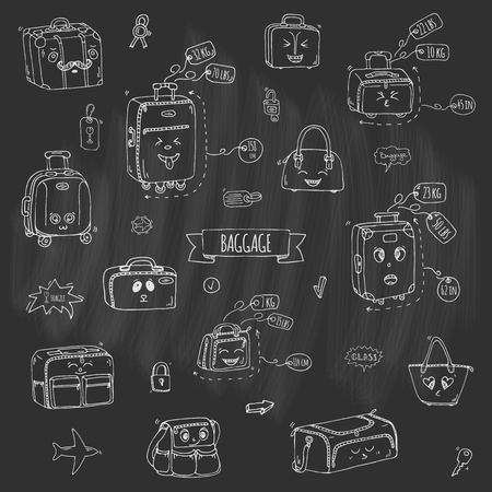 Hand drawn doodle Baggage with funny emoji faces icons set. Vector illustration. Different types of baggage. Large and small suitcase, hand luggage, backpack, handbag, tag. Sketch kawaii cartoon style Illustration