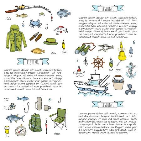 Hand drawn doodle Fishing icons set.