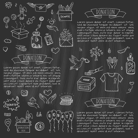 Les icônes de donation de doodle dessinées à la main sont définies. Banque d'images - 86192113