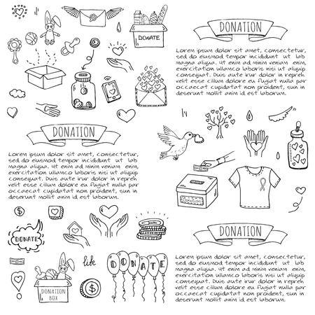 Les icônes de donation de doodle dessinées à la main sont définies. Banque d'images - 86192120