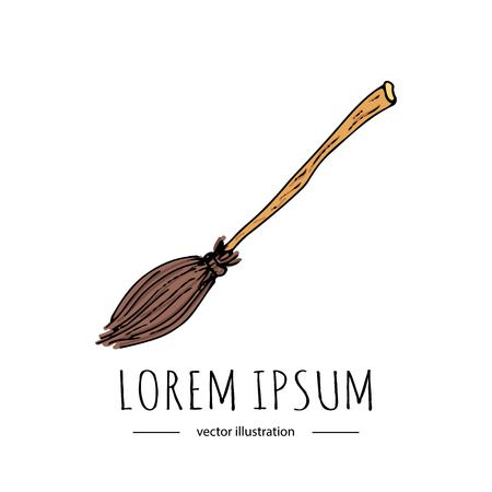 Hand drawn doodle Happy Halloween related icon - magic broom. Ilustração