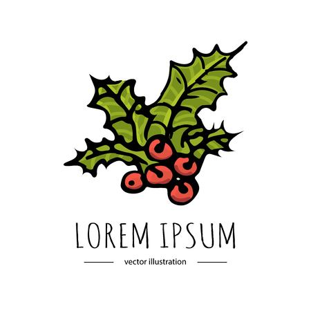 手描きスケッチ メリー クリスマス要素のセットです。ベクトルの図要素を落書き: キャンドル、ギフト ボックス、花輪、ストッキング、クリスマス
