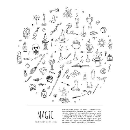 Hand drawn doodle Magic set Vector illustration wizardy, witchcraft symbols Isolated icons collections Cartoon sorcery concept elements Magic wand Love potion Fairy book Fairy tale Snake Crystal ball Illustration