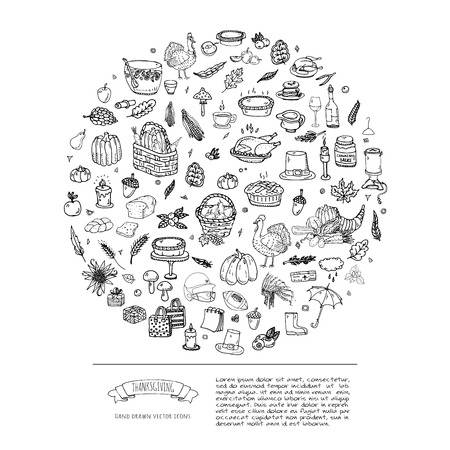 autumn background: Hand drawn doodle Thanksgiving icons set. Vector illustration autumn symbols collection. Cartoon celebration elements: turkey, hat, cranberry, vegetables, pumpkin pie, leaves, cornucopia, basket.