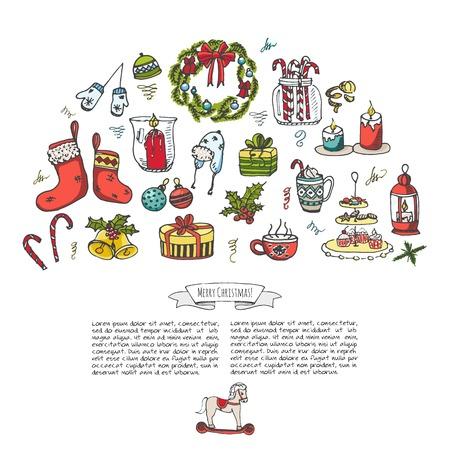 手の描かれたスケッチ クリスマス要素落書きベクトル図要素キャンドル ギフト ボックス クリスマス ツリー リース キャンディー杖クッキー鐘ホリ