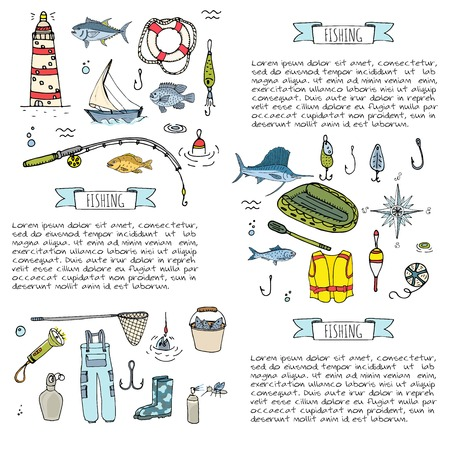 Hand drawn doodle Fishing icons set. Vector illustration. Cartoon catching fish equipment elements collection: Rod, Baits, Spinning, Lure, Inflatable Boat, Yacht, Lighthouse, Cloth, Safety jacket.