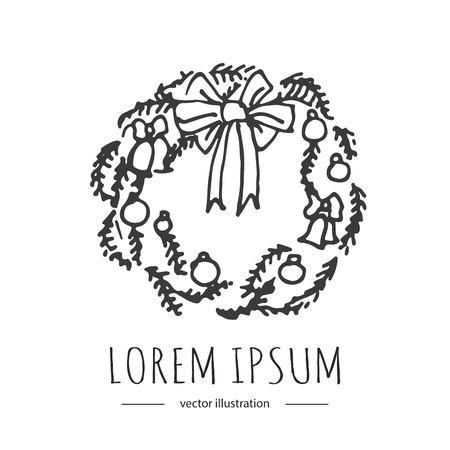 手描き落書きメリー クリスマス関連アイコン - の花輪です。ベクトルの図。休日の記号です。漫画スケッチ要素: 白い背景に分離されたカラフルな