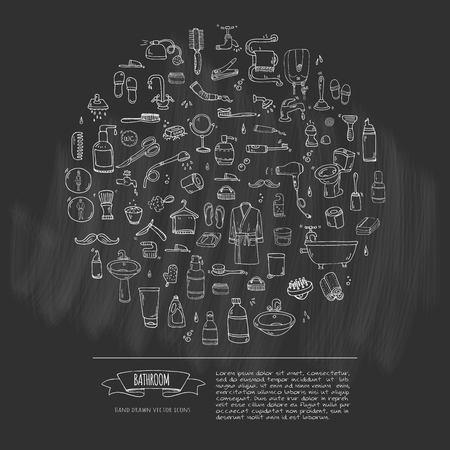 手描き落書き浴室関連アイコン白背景スケッチ トイレ シンク シャワー バスタブ洗面所タオル バスローブ スリッパ ファンにベクトル図家庭風呂シ