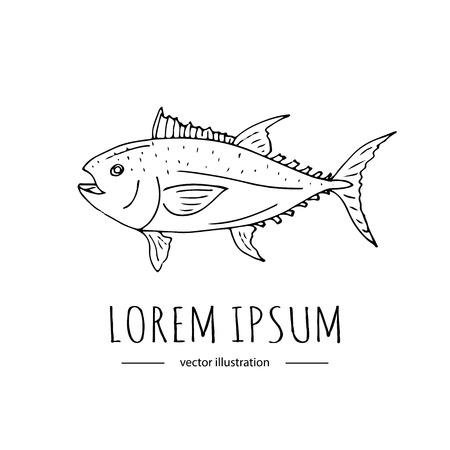 手描き落書き釣り関連アイコン - カラフルなマグロです。大ざっぱなベクター イラスト要素。漫画の野生魚を捕るスケール スパイク フィン物語 写真素材 - 86634681