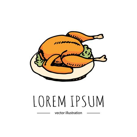 Hand drawn doodle Thanksgiving roasted turkey icon. Vector illustration autumn holiday symbol collection. Cartoon celebration element: hot baked turkey on the plate, cranberry  sauce, fried chicken. Stock fotó - 86634683