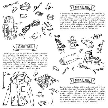 Hand getrokken doodle Bergbeklimmen iconen set. Vector illustratie. Bergbeklimmersuitrusting collectie. Beeldverhaalschets elementen voor trekking, wandelen, toerisme, expeditie, camping, openluchtrecreatie. Stock Illustratie