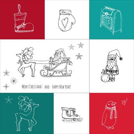 手描き落書きメリー クリスマスのアイコンを設定します。大ざっぱなベクター イラスト要素。キャンドル ギフト ボックス クリスマス ツリー リー  イラスト・ベクター素材