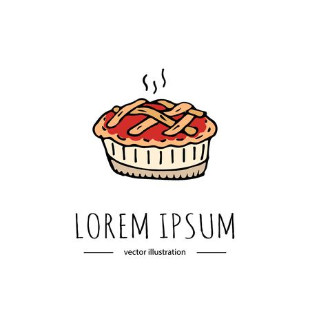 Hand drawn doodle Thanksgiving icon - traditional lattice upper crust apple pie isolated on white background. Vector illustration. Shortcrust pastry with apple filling