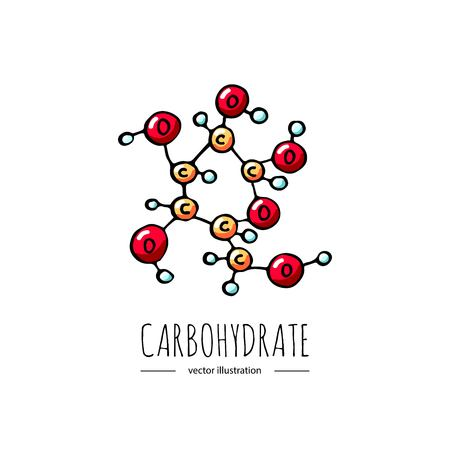 Hand drawn doodle Carbohydrate chemical formula icon Vector illustration Carbs dieting symbol Cartoon sketch weight loss element Fitness diet Sport nutrition Healthy eating On white background Illustration