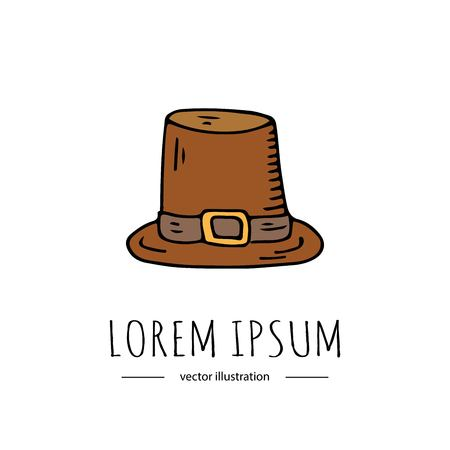 Hand drawn doodle Thanksgiving icon - Old hat isolated on white background. Vector illustration. Pilgrim symbol Cartoon celebration element: cockel, capotain, tall crowned, narrow brimmed, conical hat