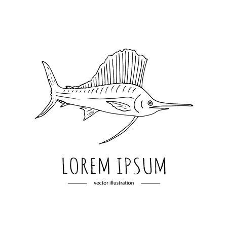 手描き落書きブルーマーリン魚アイコンを白い背景に分離します。ベクトル図では、釣り関連のアイコン - カラフルな魚。不完全な要素。漫画の野生魚を捕るスケール スパイク フィン物語 写真素材 - 87714315