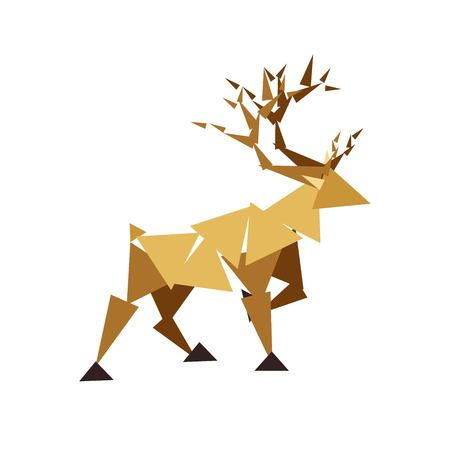 Abstract Reindeer image composed of triangles isolated on white background. Vector illustration. Wild animal symbol. Logo element: wild deer, stag, elk, moose, antlers, wildlife