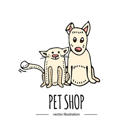 Hand drawn doodle sitting cute dog and cat icons isolated on white background. Vector illustration. Pets stuff, supply concept Vet symbol Cartoon dog care, paw, tail Funny character Goods for pet shop
