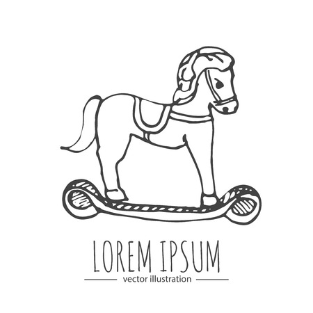 Hand drawn doodle Rocking horse icon. Vector illustration Baby toy symbol. Cartoon Christmas celebration element for baby shower card, scrapbook, invitation, childrens goods, childish accessories.
