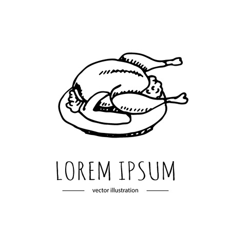 Hand drawn doodle Thanksgiving roasted turkey icon. Vector illustration autumn holiday symbol collection. Cartoon celebration element: hot baked turkey on the plate, cranberry  sauce, fried chicken. Stock fotó - 87714332