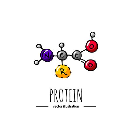 Hand drawn doodle Protein chemical formula icon Vector illustration dieting symbol Cartoon sketch weight loss element Fitness diet Sport nutrition Healthy eating bodybuilding power drink Çizim