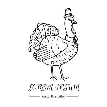 Dibujado a mano doodle del icono lindo Turquía. Ilustración del vector aislado colección otoño símbolo de vacaciones. De dibujos animados celebración elemento: pájaro, animal pájaro de la granja, celebración de Acción de Gracias sombrero divertido y un collar. Foto de archivo - 87714347