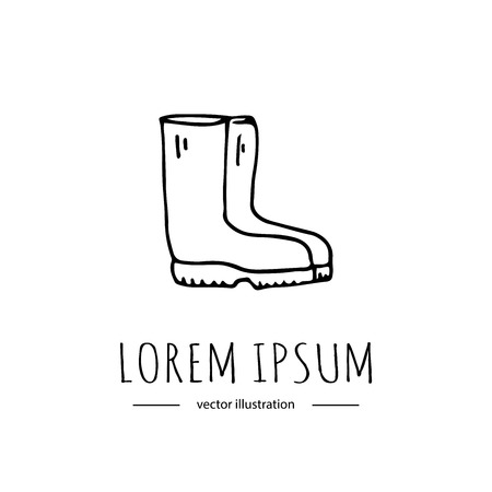 Hand drawn doodle Autumn icon - Red rain boots isolated on white background. Vector illustration. Rainy weather symbol Cartoon fall element Wet Puddle Pool Water