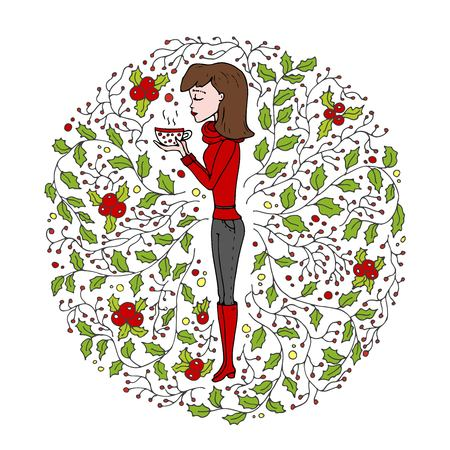 Hand drawn doodle girl icon - young woman wearing a warm pullover holding cup with tea surrounded by holly floral decoration isolated on white background. Cartoon vector illustration. Merry Christmas