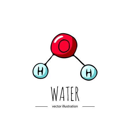 Doodle dessiné main icône de formule chimique de l'eau. Vecteurs