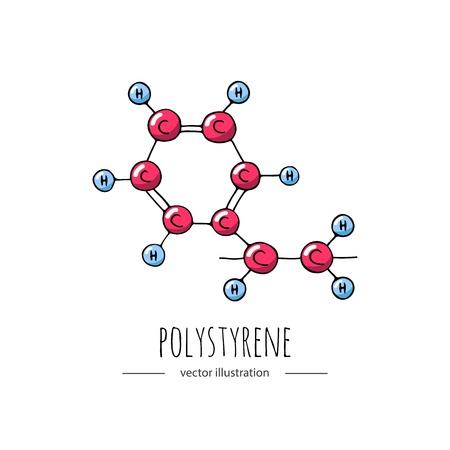 Doodle dessiné main Polystyrène icône de formule chimique.