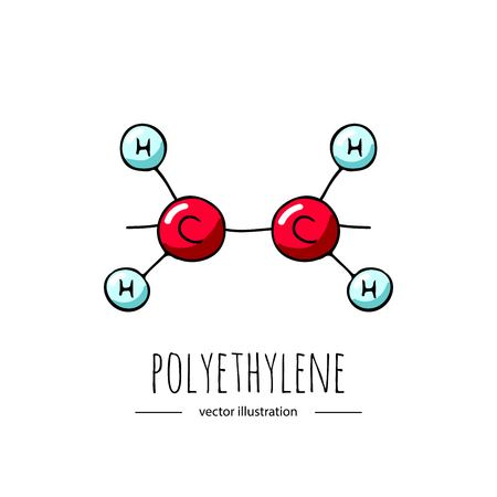 Dibujado a mano doodle icono de fórmula química de polietileno. Ilustración de vector