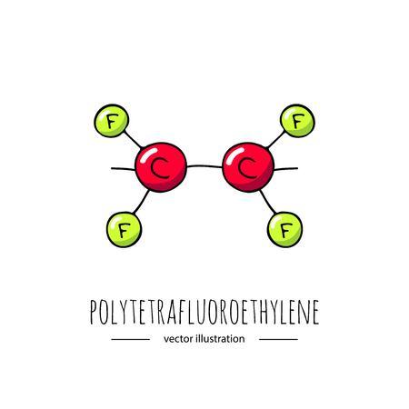 Hand getrokken doodle polytetrafluoroethylene chemische formule pictogram