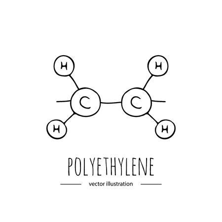 Hand drawn doodle Polyethylene chemical formula icon. Illustration