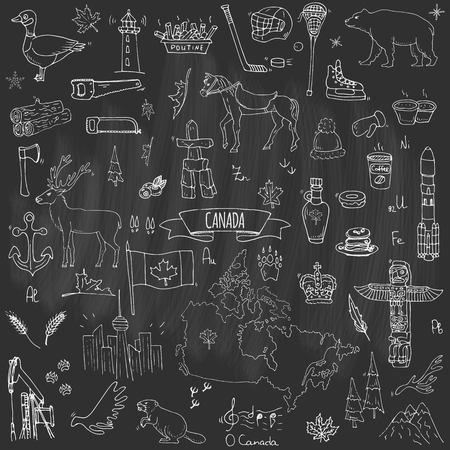Hand drawn doodle Canada icons set.