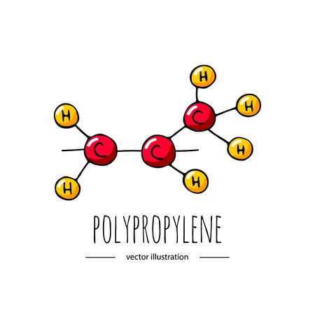 Hand drawn doodle polypropylene chemical formula icon.