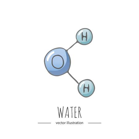 Hand drawn doodle Water chemical formula icon.
